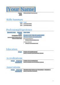 Professional resume template microsoft word