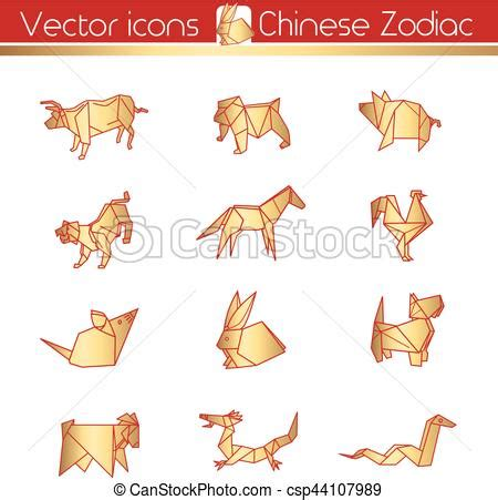 Zodiac Origami - zodiac gold origami vector icons vector