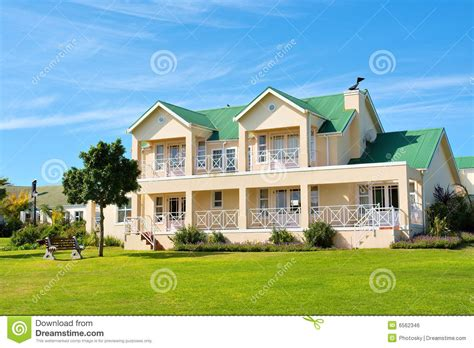 House Design Styles In South Africa Nice Big House Lawn Bench Royalty Free Stock Image