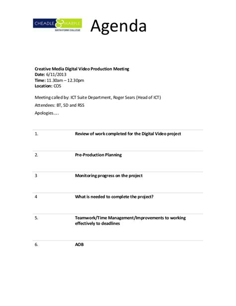 Sle Templates For An Agenda | production meeting agenda template 12 weekly meeting
