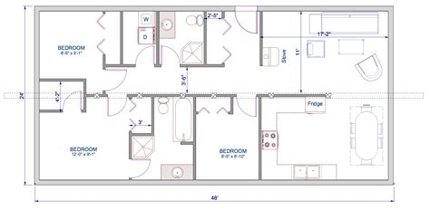 Single Floor House Plans by 1152 Sqft 24 X48 Timber Trusses