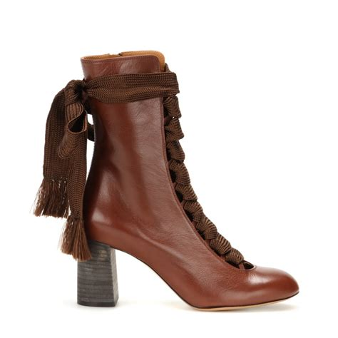 leather boots lyst chlo 233 leather boots in brown