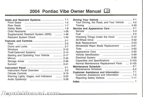 service manual car repair manuals online pdf 2004 pontiac vibe seat position control 2003