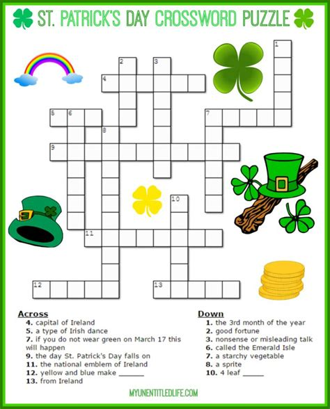 s day puzzle st patrick s day crossword puzzle printable for free