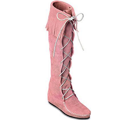 Aikatsu Pink Suede Knee High Boots womens minnetonka knee high fringe boot pink suede free