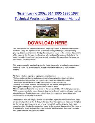 free car manuals to download 1997 nissan 200sx lane departure warning nissan lucino 200sx b14 1995 1996 1997 technical workshop service repair manual by