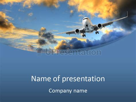 airplane powerpoint template background plane gold powerpoint template id 0000069220