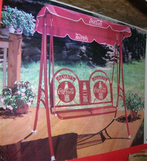 coca cola swing vintage coca cola patio swing set w canopy nos