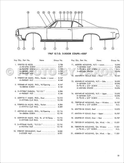 pontiac parts catalog 1967 pontiac molding and parts catalog reprint