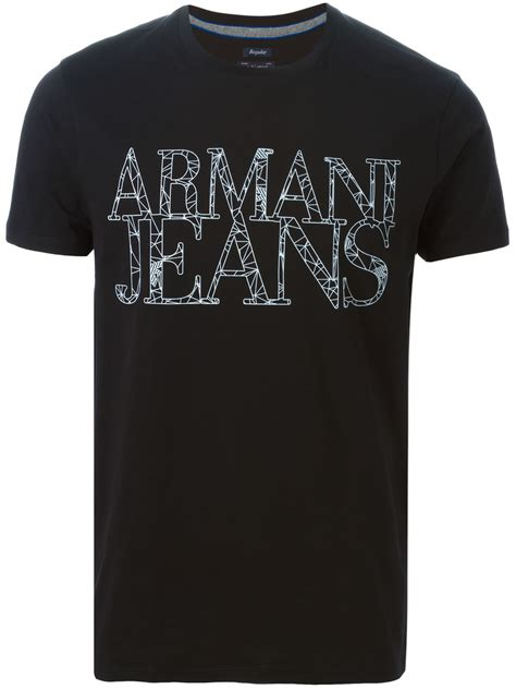 Details T Shirts lyst armani logo detail t shirt in black for