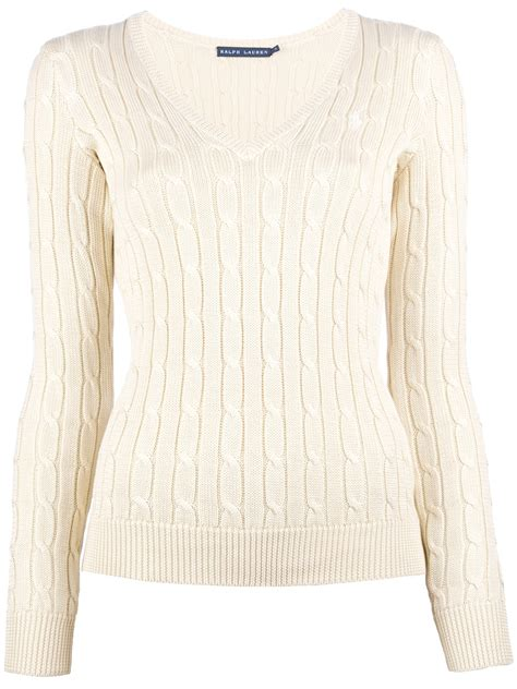 how to knit v neck ralph v neck cable knit sweater in beige lyst