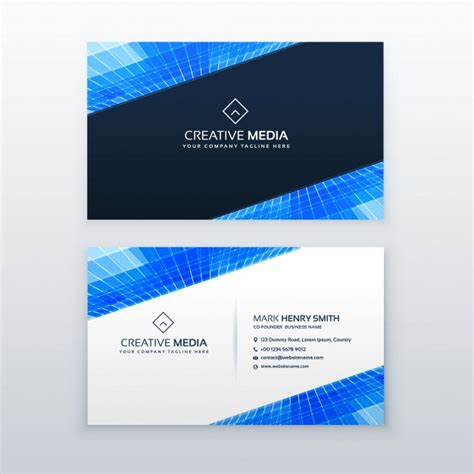 blue business card template blue business card design template vector free