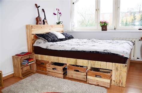 pallet bed with storage pallet wood king size bed with drawers storage 1001 pallets