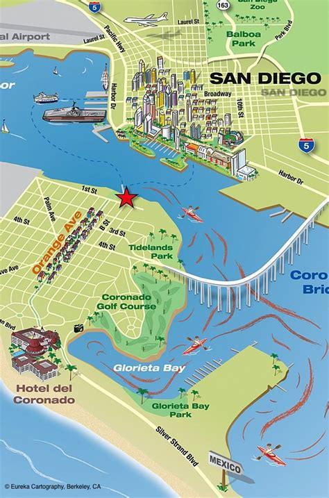 berkeley map coronado island kayak map with san diego in the background
