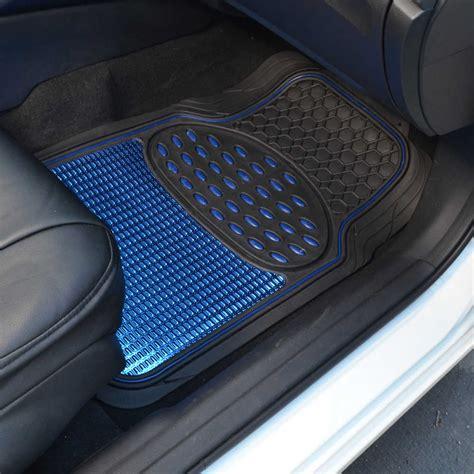 shiny blue metallic finish vinyl floor mat and faux