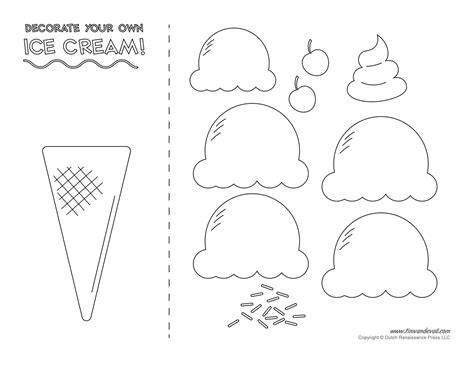 Ice Cream Templates And Coloring Pages For An Ice Cream Party Printable Craft Templates