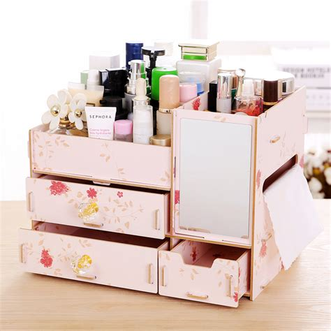 Desk Makeup Organizer Home Furnishing Makeup Organizer Diy Wood Cosmetic Organizers Creative Desk Drawer Storage