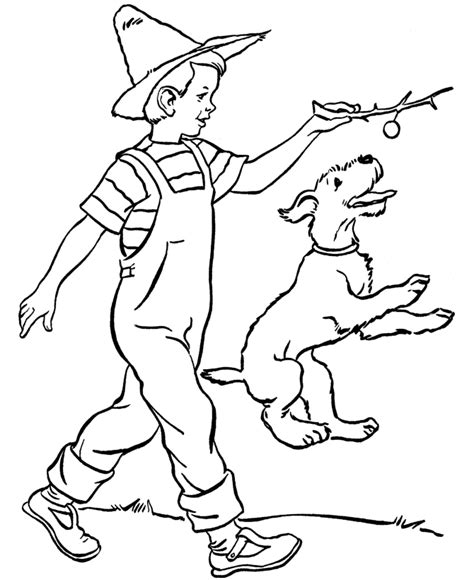 puppy playing coloring page boy playing with dog coloring page coloring home