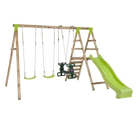 swing with slide silverback wooden swing set with slide