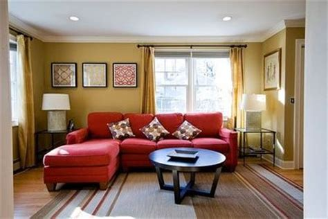 Red Couch Yellow Walls For The Home Juxtapost