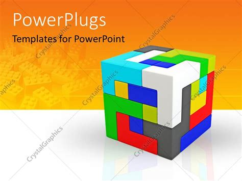 Powerpoint Template A Cube Made Of Various Colored Parts Cube Powerpoint