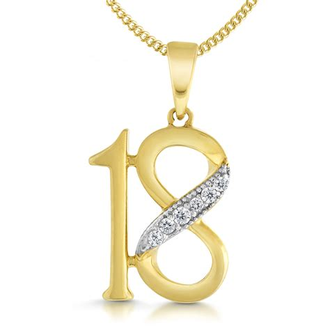 18th birthday necklace 9ct yellow gold cubic zirconia