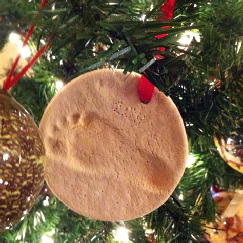 flour salt and water footprint ornaments holiday crafts