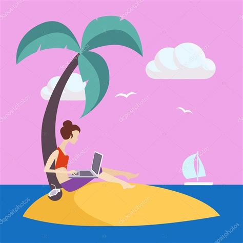 how to make an island work in a small kitchen girl on small island working freelance stock vector