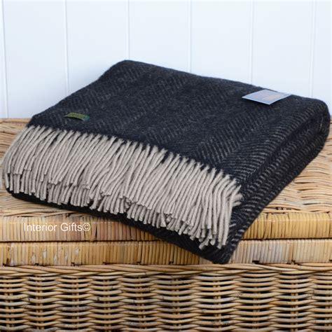 Wool Blankets And Throws by Tweedmill Vintage Wool Black And Beige Throw Blanket In