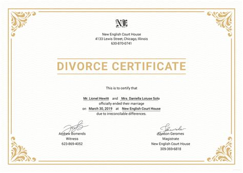 separation certificate template free divorce certificate template in psd ms word