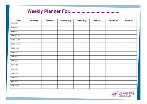 weekly planner template for students exceptional week planner template sle for children or