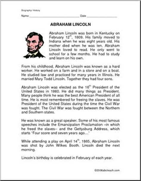 biography of abraham lincoln worksheet biography of abraham lincoln facts and quetsions