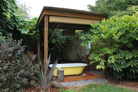 backyard bath house eclectic patio portland