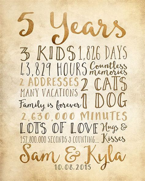 5th Wedding Anniversary Gifts by 5 Year Anniversary Gift 5th Year Of Marriage Or Dating