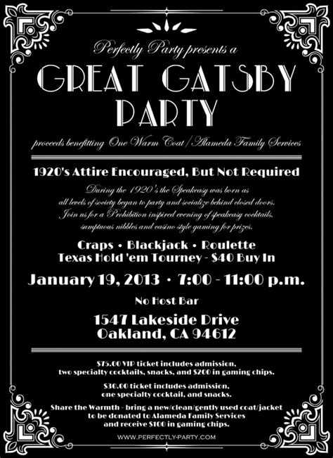 the great gatsby invitation template great gatsby themed invitations images
