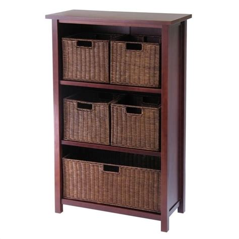 storage bookshelves with baskets bookcase bookshelf furniture 3 shelf storage unit with 5 wired baskets in walnut ebay