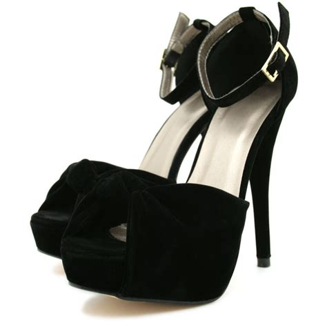 suede style stiletto high heel platform knot peep toe