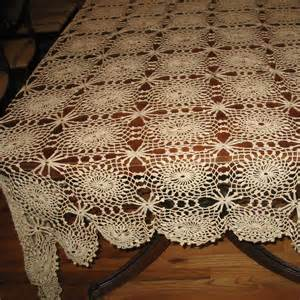 vintage crocheted tablecloth lacy crochet tablecloth