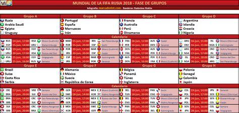 copa mundial 2018 horarios calendario y sedes de la fase de grupos mundial de