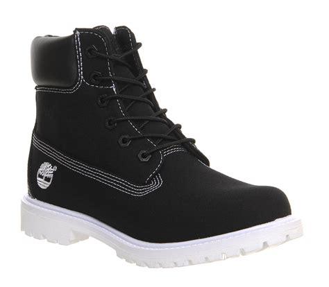 womens black timberland boots womens timberland premium 6 boot black canvas white sole