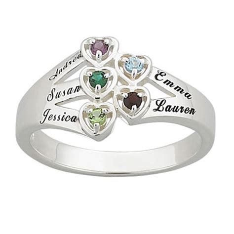 gold family birthstone flower ring cubic zirconia accents
