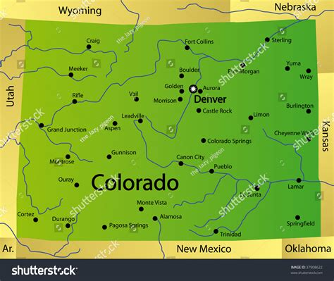 state map of colorado detailed map colorado state usa stock illustration