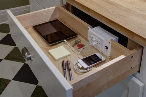 hidden electrical outlets kitchen transitional with drawer