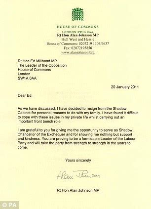 Resignation Letter Because Of Marriage Alan Johnson Affair Minder Confesses To Liaisons With Shadow Chancellor S Daily Mail
