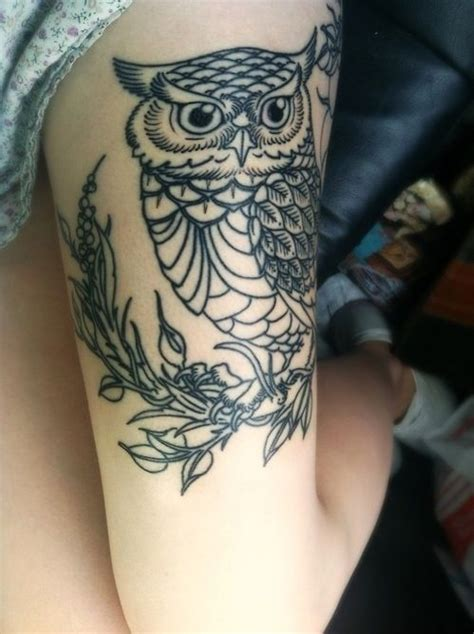 owl tattoo thigh owl thigh tattoo tattoos pinterest