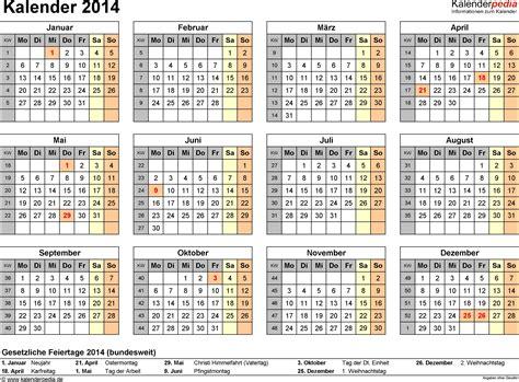 Calendar For 2014 Kalender 2014 Mit Excel Pdf Word Vorlagen Feiertagen
