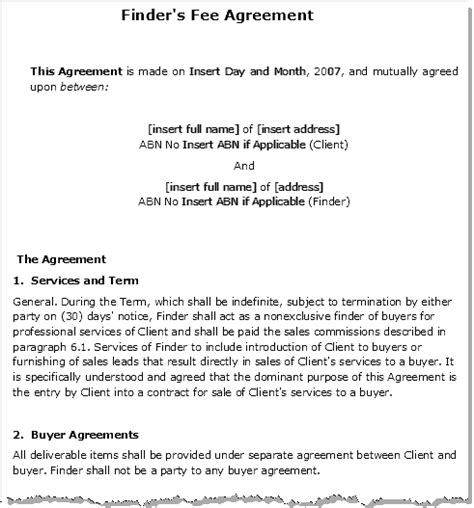 finders fee agreement template finders fee agreement contract for a finders fee