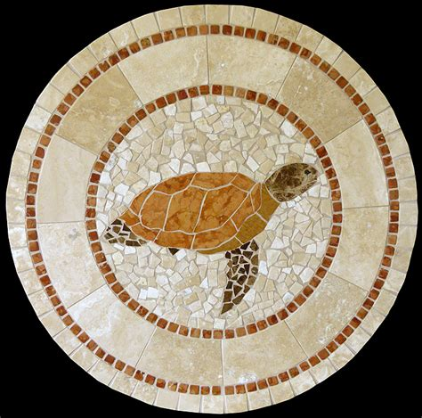 Marble Pedestal Dining Table Turtle Mosaic Stone Table Top