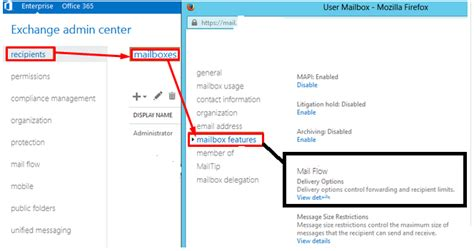 forward check email forwarding in exchange server 2013 mailbox tips