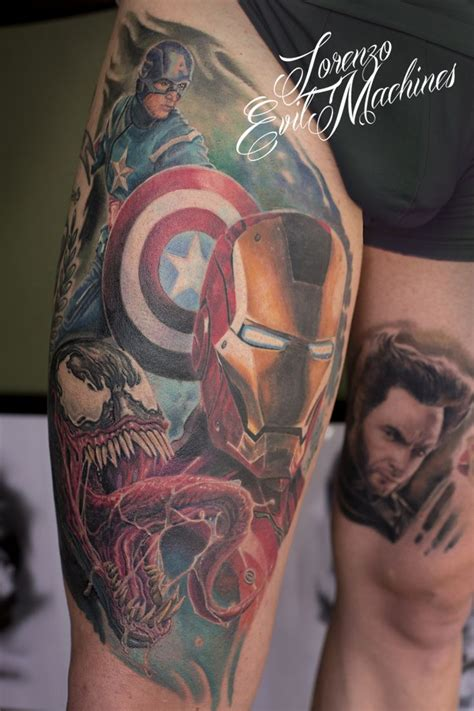 ironclad tattoos marvel realistic color captain america iron